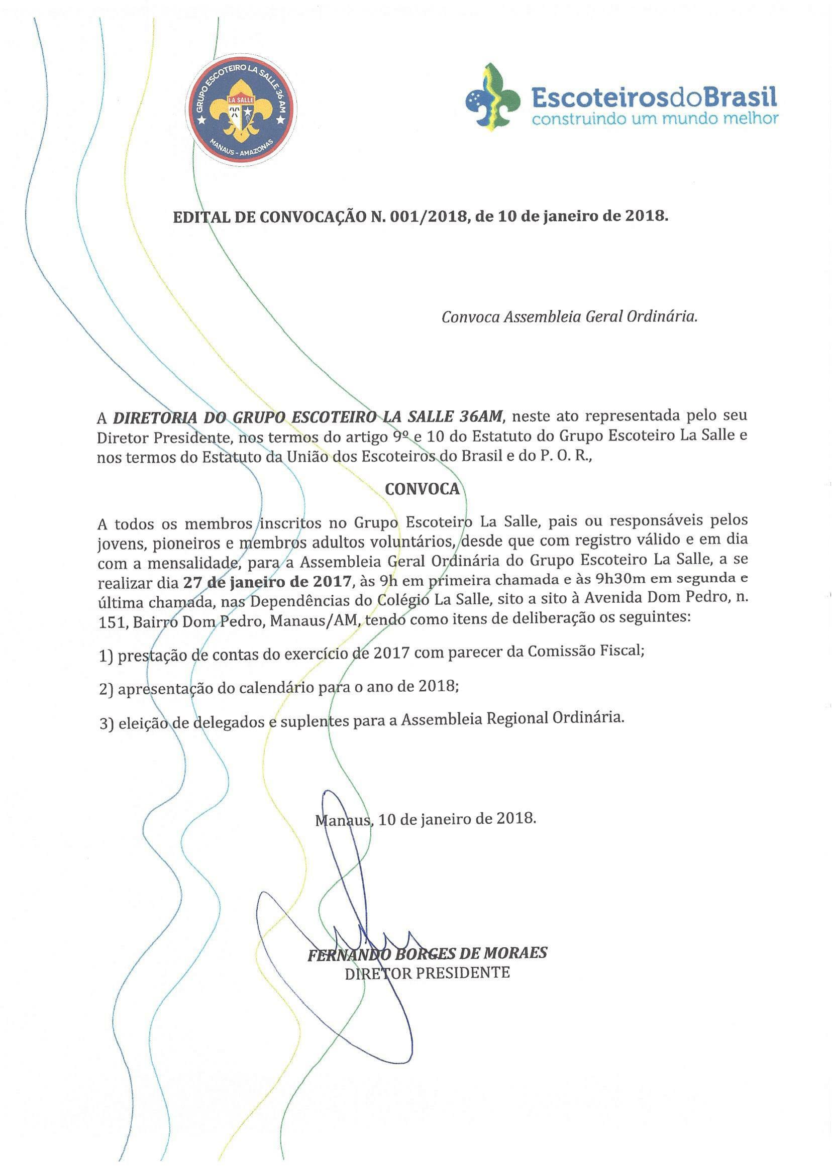 Convocação para Assembléia Geral Ordinária 2018